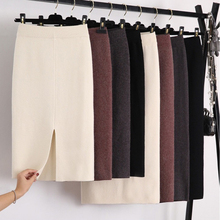 Winter Thickening Wool Blend Split Mid Knitted Skirt Cashmere Warm Hip Slim Mid calf Knit Skirts 2 Length 4 Colors