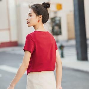 Image 2 - Novedad de Verano de 2020 INMAN, camiseta de manga corta bordada con personalidad y cuello en V combinable literaria de Color puro