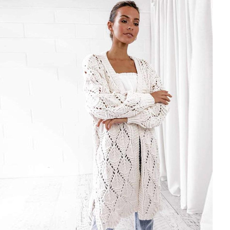 Moda Malha Escavar Mulheres Cardigan de Grandes Dimensões Sólida Longo Cardigan Sobretudo Streetwear Outono Blusas De Inverno Feminina