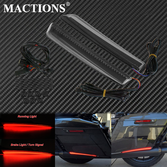Motorcycle Smoke Rear Saddlebag Extended LED Red Run Brake Turn Signal Light For Harley Touring Road King Street Road Glide FLHR