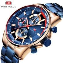 MINI FOCUS موضة الأزرق ساعة الرجال كوارتز ساعة رياضية رجالي ساعات العلامة التجارية الفاخرة الأعمال كامل الصلب حزام relogio masculino
