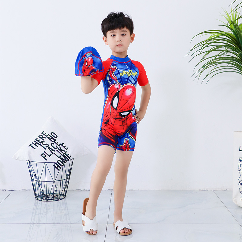 Sun-resistant KID'S Swimwear BOY'S One-piece Big Boy Cartoon Cute Quick-Dry Male Baby Swimming Suit Half Sleeve Capping-