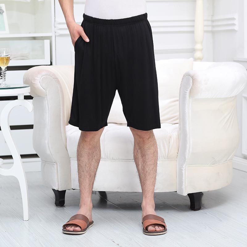 Men Loose Modal Pajama Shorts Solid Summer Elastic Home, Strech Waist Pajamas Home Knee Length Sleep Shorts