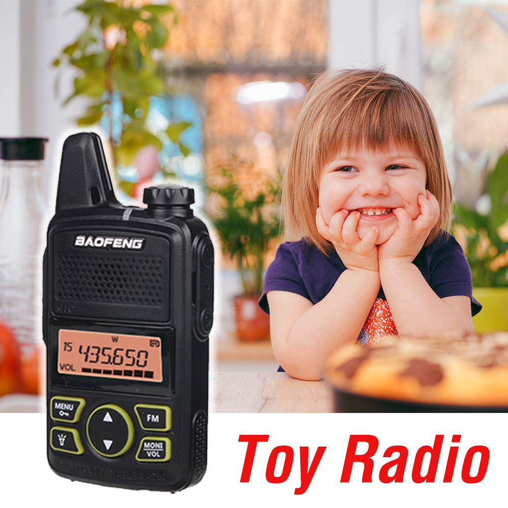 1pc Mini Baofeng Walkie Talkie 10km BF-T1 UHF 400-470MHz LCD Portable Two Way Radio Kids Toy Wireless Intercom FM Ham Radio