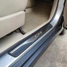 Car styling akcesoria dla Mazda CX 5 CX 5 CX5 próg drzwi osłona przed powstawaniem rys próg drzwi s wykończenia Protector naklejki samochodowe 2013 2017 2019