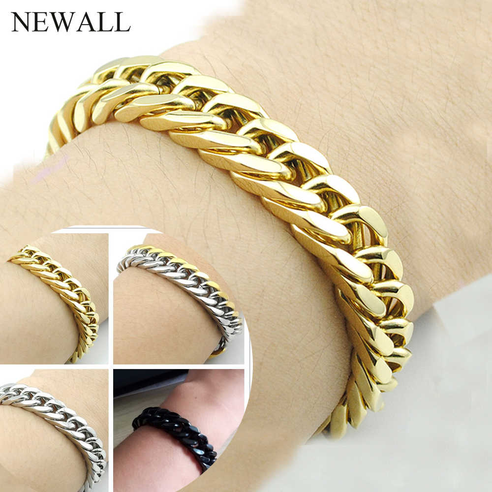 Newall 8-14mm stainless steel men's bracelet gold silver cuban link chain hand accessory wholesale hip hop jewelry Punk gift