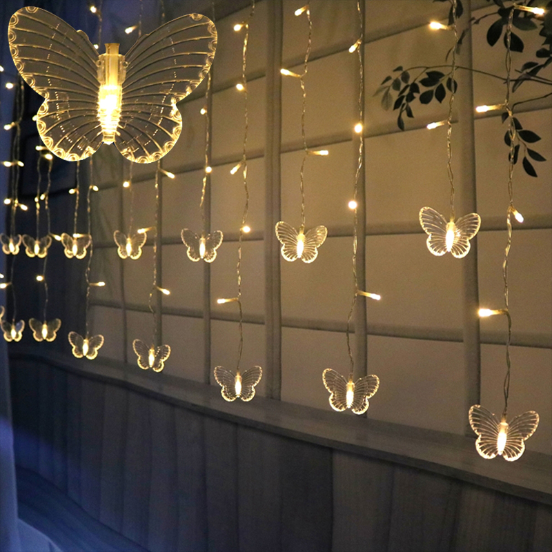 3.5M Icicle LED String Lights Curtain Fairy Christmas Wedding Party Lamp USB / Battery Butterfly Garland Decoration String Lamp