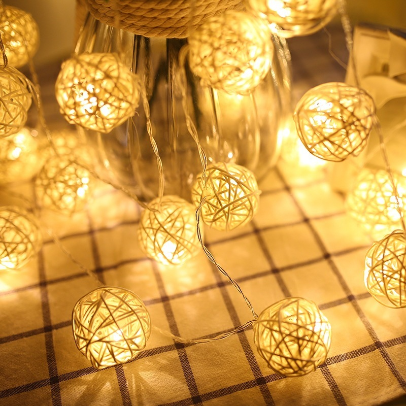 New Year 3cm Rattan Ball Garland Holiday Christmas Tree Decorations LED String Lights Christmas Fairy Lights for Outdoor Navidad