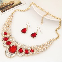 1 Set Women Stone Necklace Earrings Rhinestone Pendant Jewelry Luminous Vintage DXAA(China)