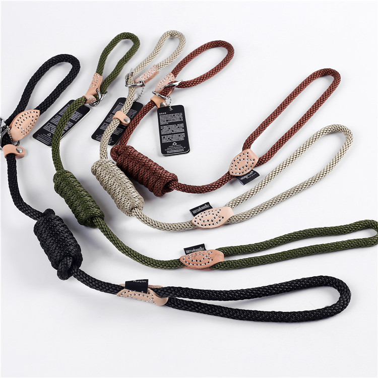 Pet Supplies Genuine Leather Nylon Dog Hand Holding Rope Cord Triangular Leather Control Lanyard Manufacturers Direct Selling