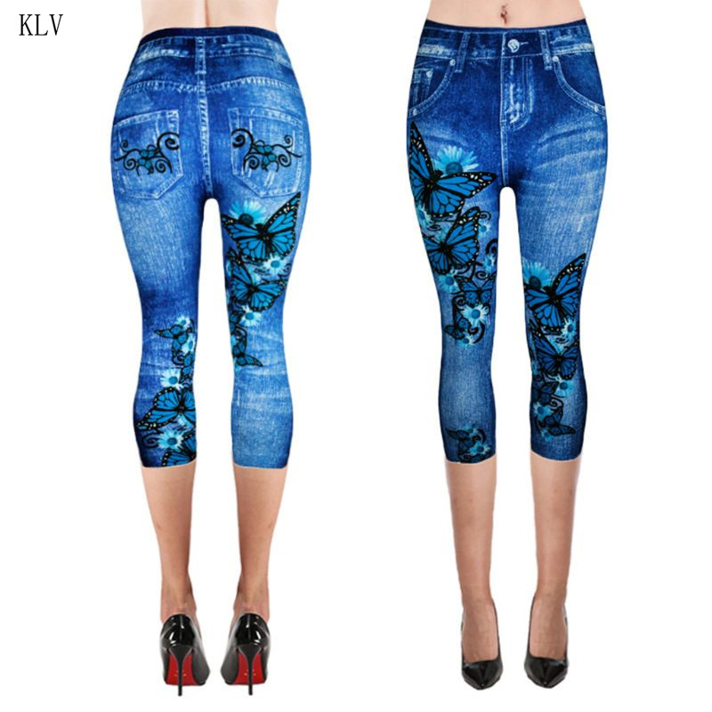 Womens High Waist Cropped Elastic Leggings Fake Jeans Capri Pants Retro Wash Color Butterfly Denim Print Plus Size XS-3XL
