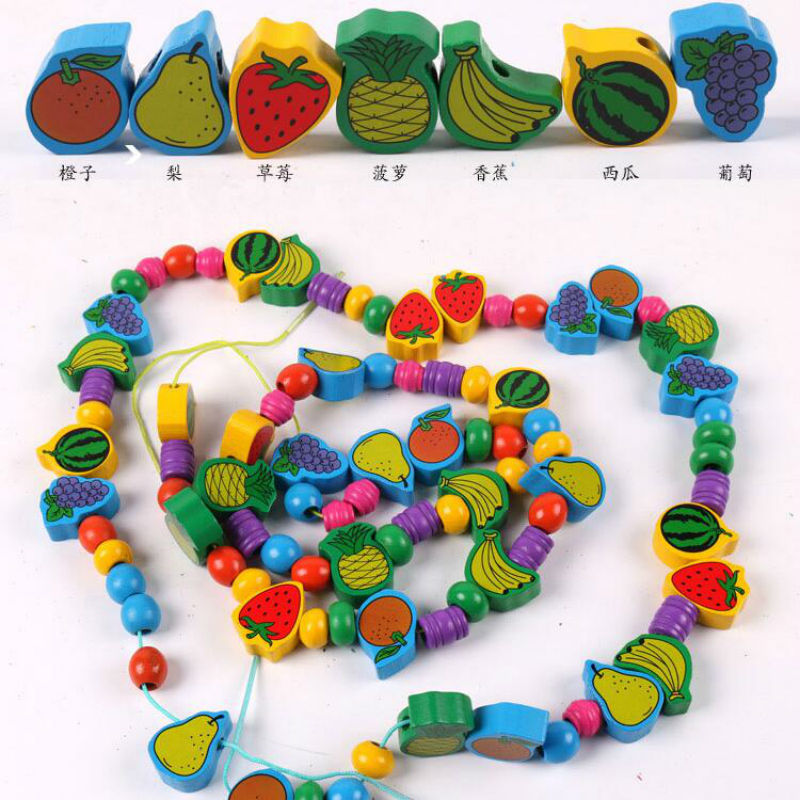 Early Toy Teach Wood Wisdom With Numbers Fruit Beaded Bracelet Bead-stringing Toy Tabletop Game Kindergarten Primary Class Area