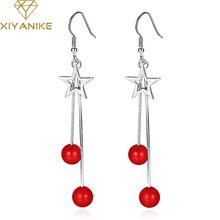 XIYANIKE 925 Sterling Silver Trendy Elegant Tassel Long Red Pearl Drop Earrings For Women Charming Pentagram Ear Hoops Jewelry(China)