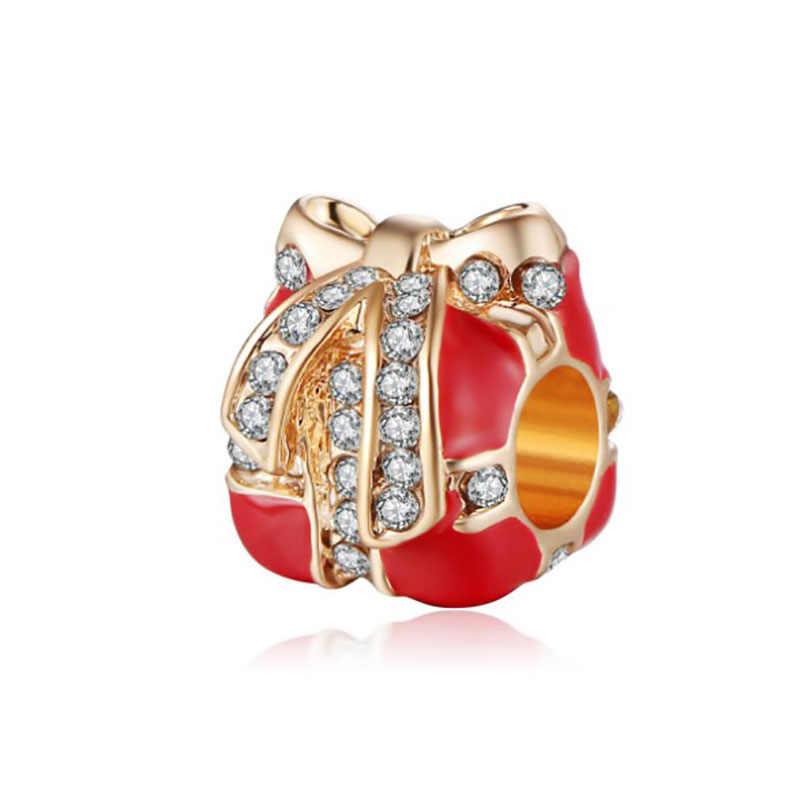 Pasuje do Pandora Rose złote koraliki biżuteria Bijoux Bracciale bisutería francuski koralik srebrny perfum Mujer oryginały bransoletka Charms