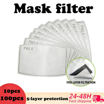 10-100pcs 5-layer Mask Filter PM2.5 Activated Carbon Mask Disposable Protection Filter Cotton Mask with Filter Face Mask Filter