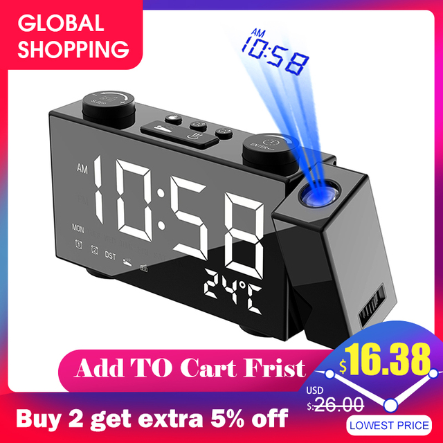 Projection Clock Digital Alarm Clock with Snooze Function Thermometer 87.5 108 MHz FM Radio USB/Batterys Power Table LED Clock