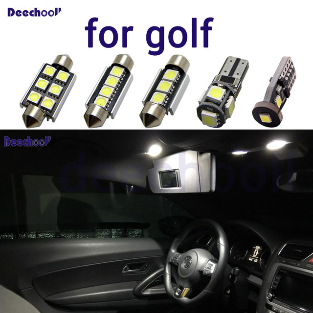 بيضاء نقية سيارة خالية من الخطأ LED لمبات لفولكس واجن فولكس فاجن جولف 2 3 4 5 6 7 MK2 MK3 MK4 MK5 MK6 M7 الداخلية خريطة مصباح سقف عدة