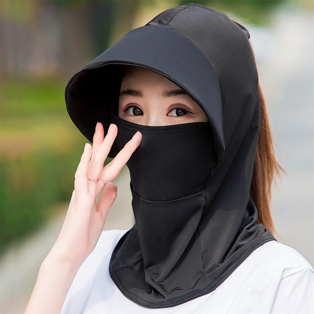 Women Bike Riding Sweat Absorption Wide Brim Solid Multipurpose Milk Silk Fashion With Face Cover Anti UV Sun Hat Summer Beach