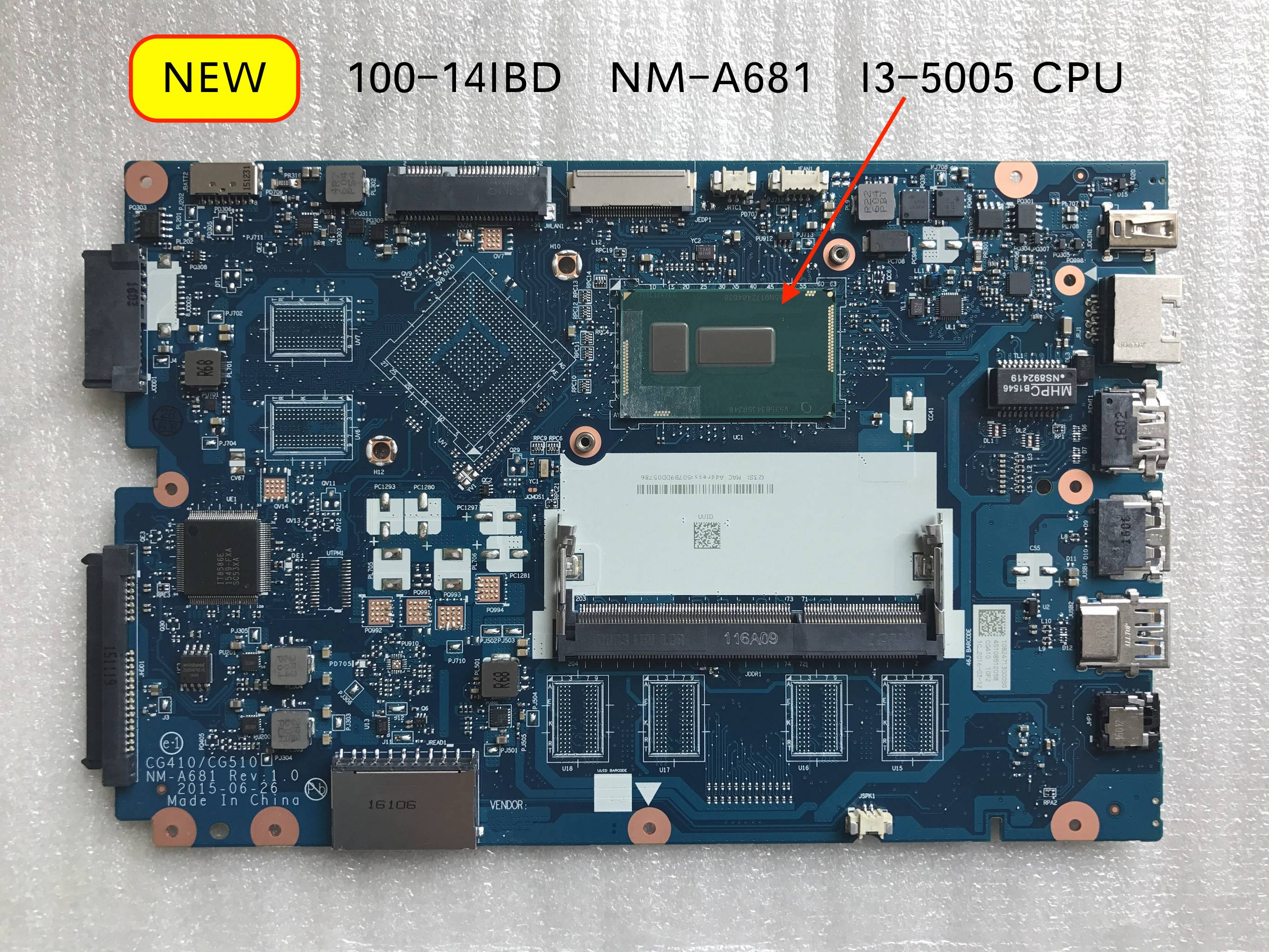 New NM-A681 Mainboard For Lenovo 100-14IBD Laptop PC Motherboard I3-5005U