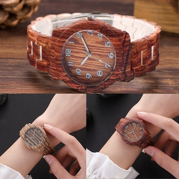 Luxury Watches Women Top Brand Mens Watch Roman Numerals Wood PU Leather Band Analog Quartz Wrist Watches Relogio Masculino