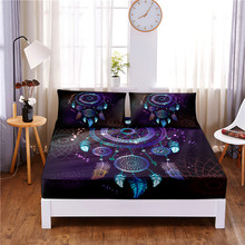 Mattress-Cover Bed-Sheet Dream Catcher Pillowcases Print with Elastic-Band Four-Corners