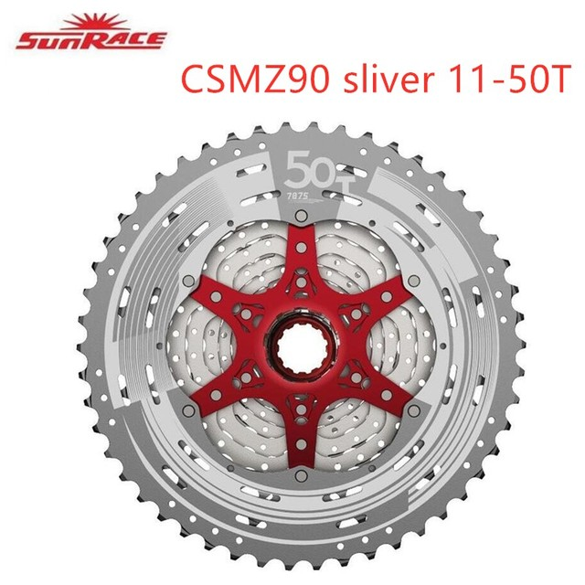 Sunrace CSMZ90 Cassette 12 Speed  sliver red black red Mountain Bike Bicycle 11 50T  for Shimano 11/12 Speed hub