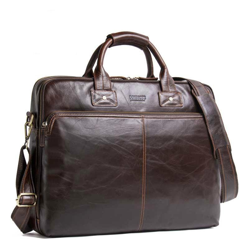 Genuine Leather Men's Bag Messenger For Documents Men Briefcases Man Handbag Can Dress Portable Computer Business Affairs
