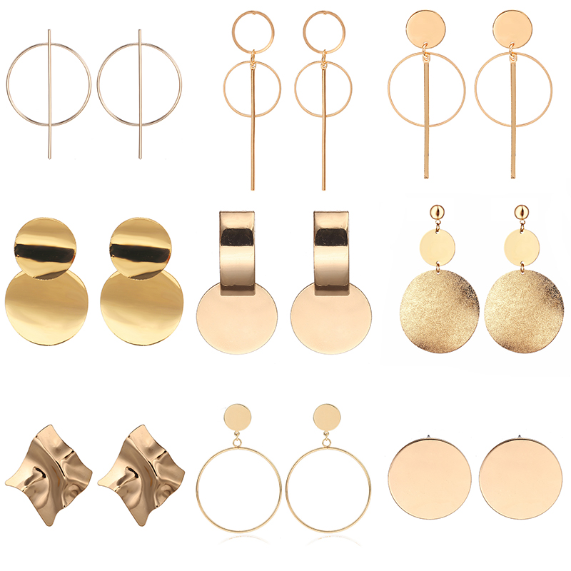 New Vintage Drop Earrings For Women Gold/Silver Color Big Geometric Statement Earring 2019 Fashion Earring India Jewelry