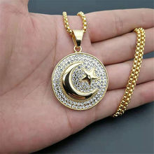Muslim Crescent Moon and Star Pendant Stainless Steel Iced Out Round Necklace Hip Hop Women Men Islamic Jewelry Dropshipping(China)