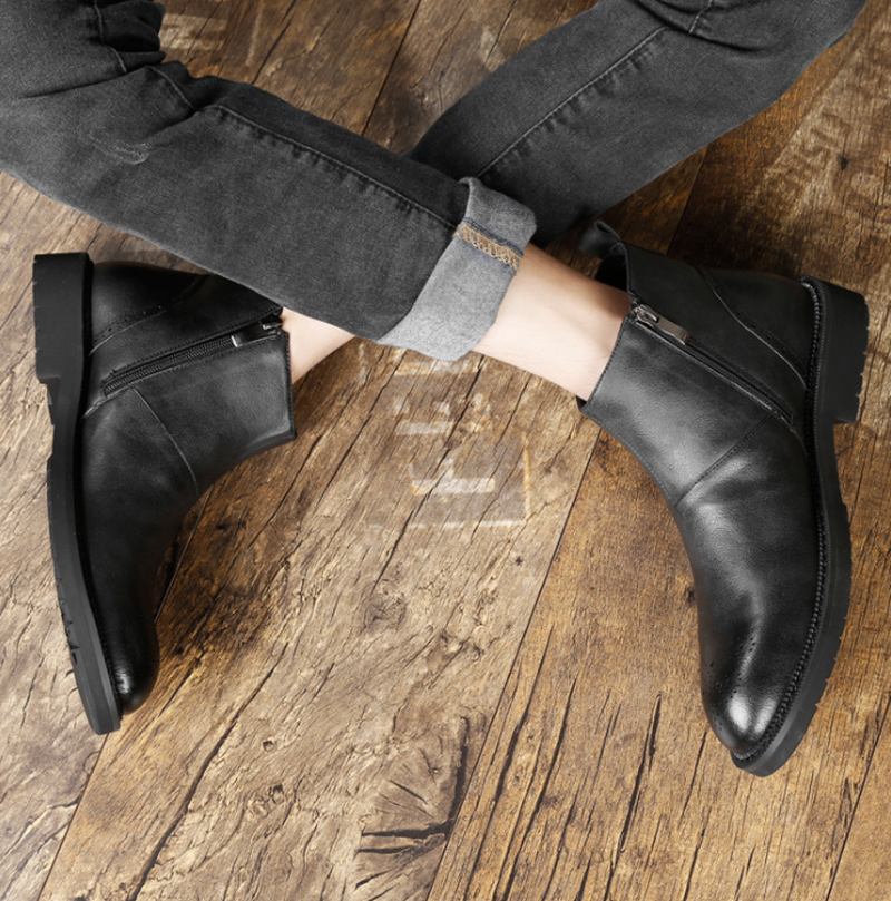 Heren Schoenen Echt Leer RidingEquestrian Varkensleer Herfst Britse Lederen Mannen Werken Laarzen voor Heren Beslagen Schoenen - 5