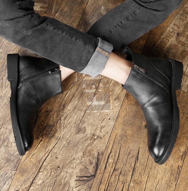Herren Schuhe Aus Echtem Leder RidingEquestrian Schweinsleder Herbst Britischen Echtem Leder Männer Arbeiten Stiefel für Herren Besetzt Schuhe - 5