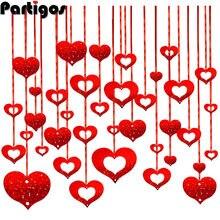 100 pcs/lot rouge coeur Laser pailleté pluie ballon pendentif romantique salle de mariage Valentiens jour anniversaire fête décorations