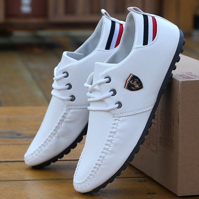 Flax Breathable Solid Color Slip Men Driving Shoes Spring And Autumn New Style Breathable Men's Peas Shoes the British Sneakers