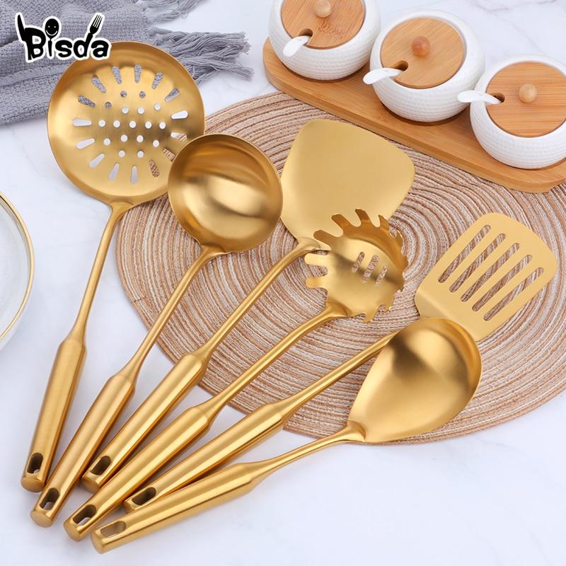 1pcs Stainless Steel Long Handle Kitchen Set Gold Cooking Utensils Scoop Spoon Turner Ladle Cooking Tools Kitchen Utensils Set