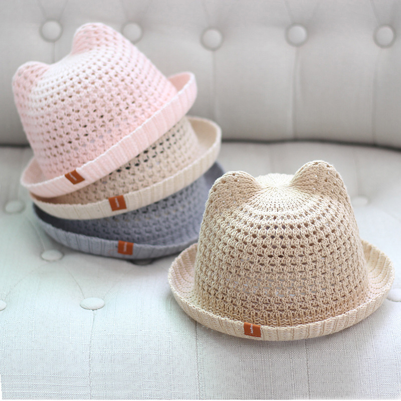 Kids Cute Baby Summer Children's Cat Sunshade Hat Beach Hats Straw Hat Boy Girls Cotton Breathable Cap Travel Cap Protection