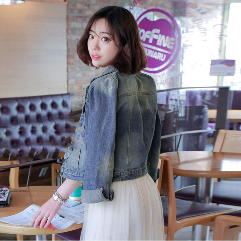 Slim Short Denim Bomber Women Jacket Jean Basic Button Lady Casual Vintage Outwear Autumn Female Fashion Coat Streetwear