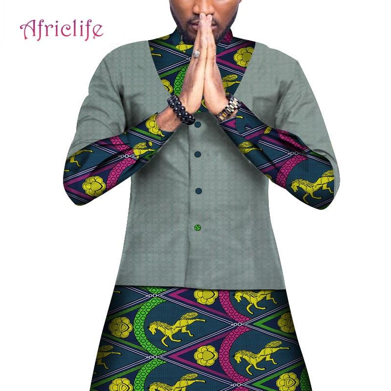WYN648 Men African Clothing Dashiki Men Top Shirt Bazin Riche African Men Clothes 100% Cotton Print Patchwork Button Long Shirt