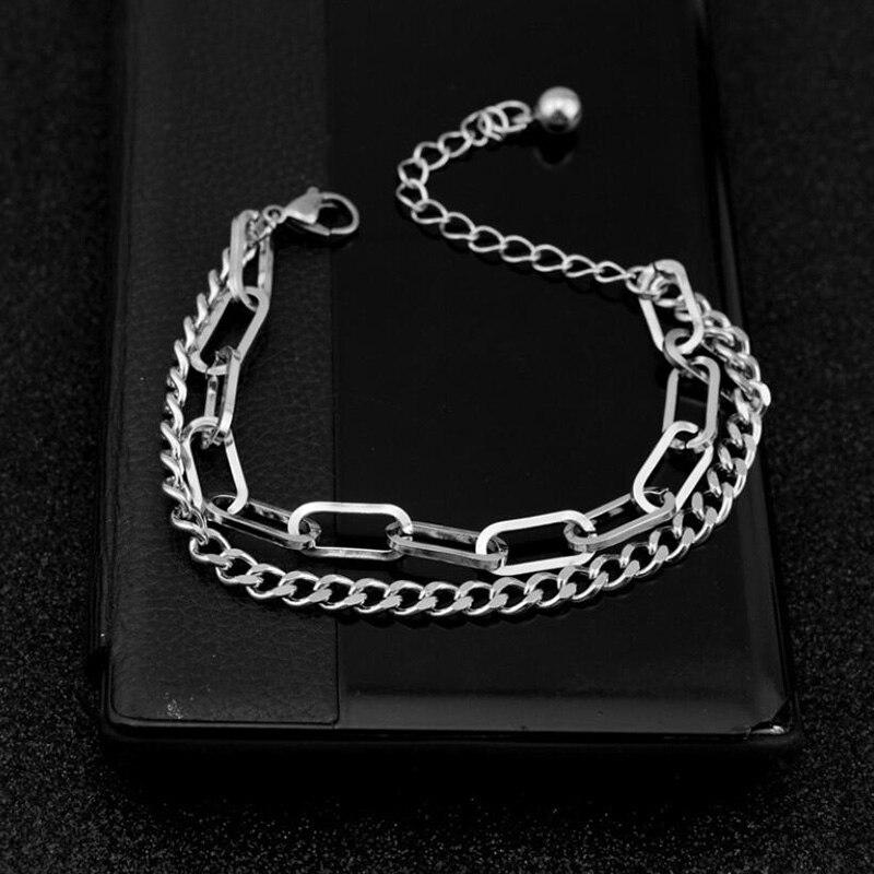 Двойной слой браслет-цепочка в стиле «хип-хоп» Браслеты Для щиколоток, для панков браслет-цепочка и по низкой цене онлайн-приспосабливаемые...