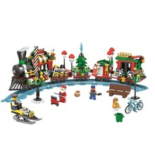 11094 552pcs Classic Christmas Train Railway Building Block Bricks Toys Educational Toys for Children Compatib Legoinglys lepin 36001 770pcs creative series the christmas winter holiday train set children legoinglys building blocks bricks toys 10254