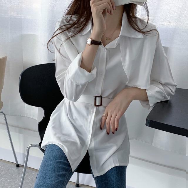 Women Loose Shirts Long Sleeve 2020 Spring Autumn Fashion Casual Chiffon Shirt Female Streetwear Vintage Blouse Tops Lace Up 2