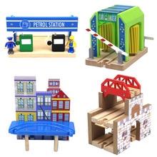 Wooden Train Accessory Train Car Wash Platform Railroad Crossroad Wooden Train Tracks Railyway Toys Montessori Toy for boys