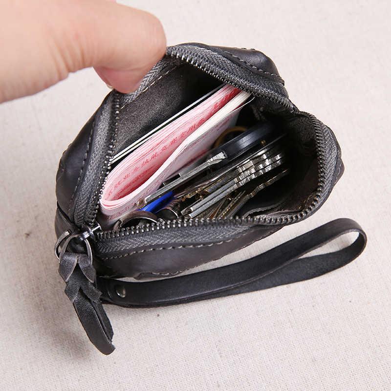 Original Handmade กระเป๋าสตางค์ขนาดเล็ก Retro ย่นของแท้หนัง MINI กระเป๋าผู้หญิงเปลี่ยนกระเป๋า Cowhide กระเป๋าสำหรับคีย์ Wristlet