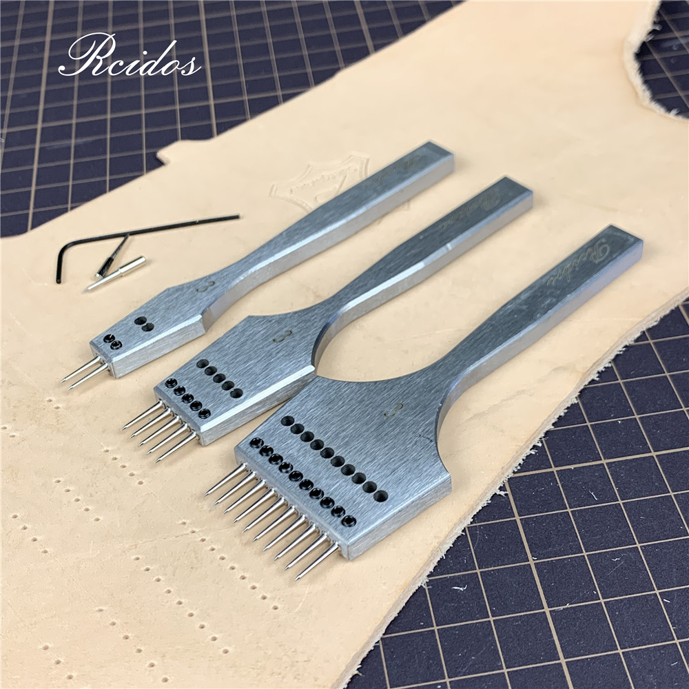 RCIDOS Interchangeable Round Hole Puncher,Manual Stitching Hole Punching Tools,Combined Stitch Hole Cutter,Dis 3/3.38/3.85/4mm