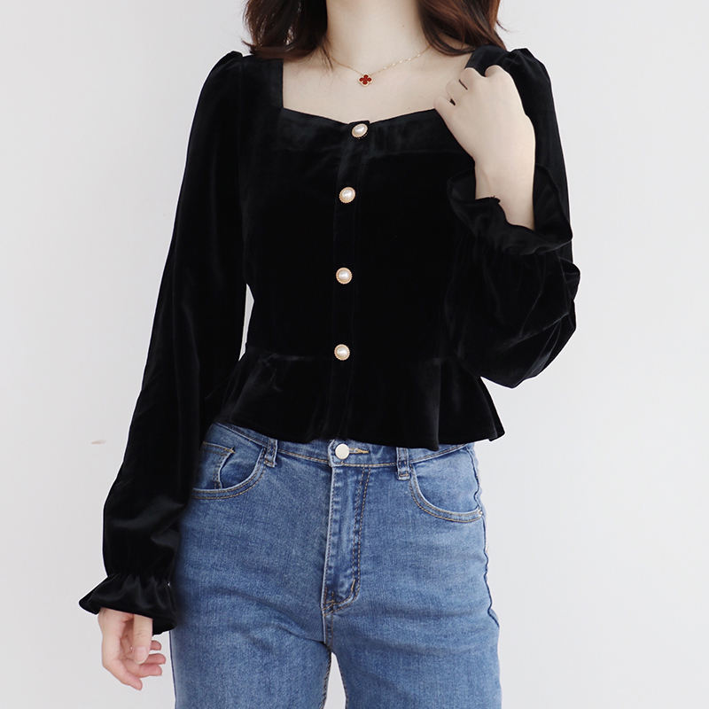Women Sweet V Neck Embroidery Crop Top Three Quarter Sleeve Blouses Ruffles Patchwork Casual Tops