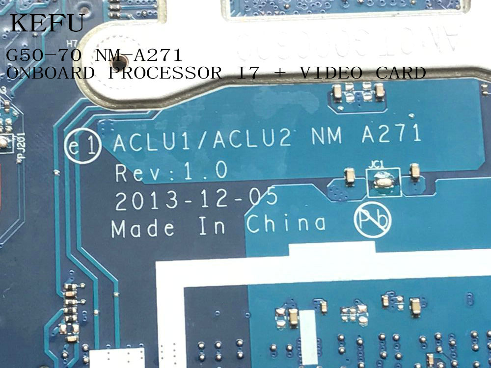 KEFU STOCK  PROMISED WORKING  ACLU1/ ACLU2 NM-A271  For Lenovo  G50-70  Laptop Motherboard ONBOARD PROCESSOR I7 +VIDEO CARD
