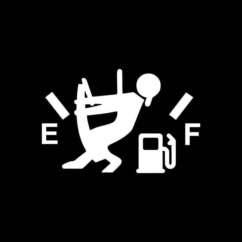 Volkrays Autoadesivo Dell'automobile Del Fumetto di Basso Del Gas Combustibile Diesel Accessori Riflettente Waterproof0 Decalcomania Del Vinile Nero/Argento, 7 centimetri * 12 centimetri