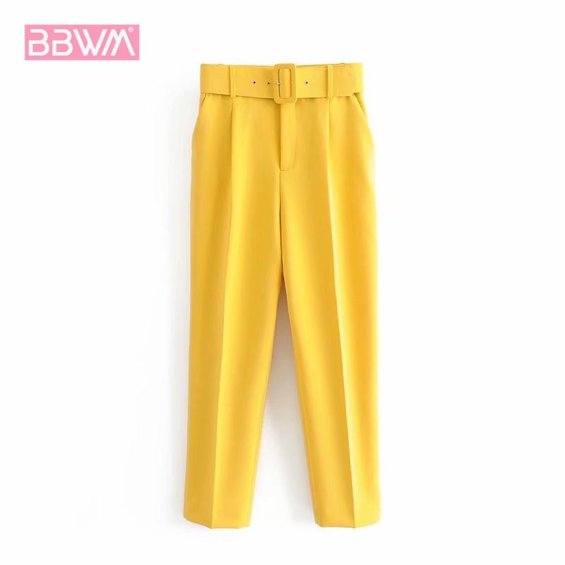 Spring New Style With Belt Solid Color High Waist Female Casual Pants Drooping Joker Basic Women's Cropped Pants
