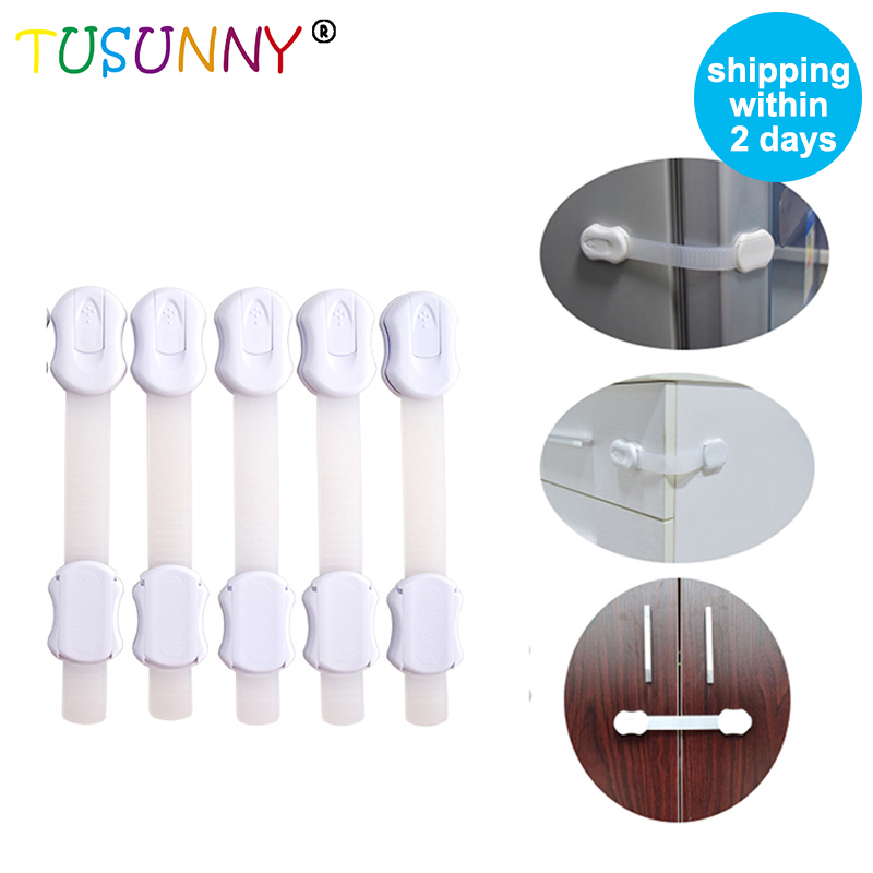 TUSUNNY 6 Pcs Wholesale Popular Safety Lock Child Baby, Adjustable Door Baby Safety Cabinet Locks