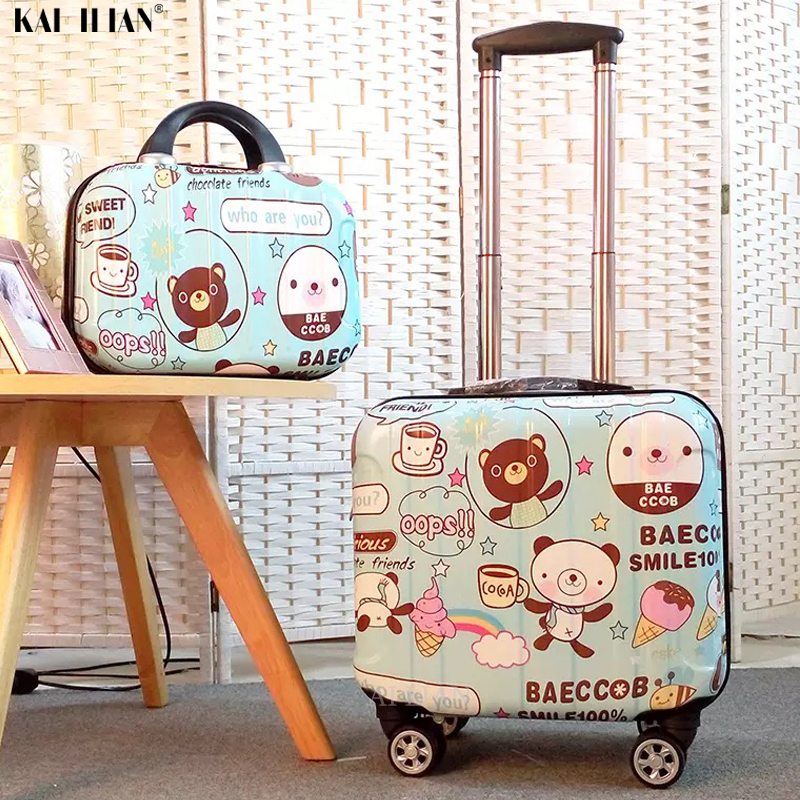 18'' Kids Luggage Set Children's Trolley Suitcase On Wheels Travel Carry On Rolling Luggage Cabin Suitcase Cute Cartoon Bag Gift