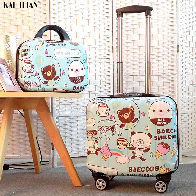 Cartoon kinder Gepäck set kinder Reise trolley koffer auf rädern mädchen der Kabine Roll gepäck 18'' tragen auf koffer tasche